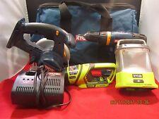 Ryobi (One+) Tool lot, Saw, Drill/Driver, Charger, and Lights + Ryobi Bag (E3)
