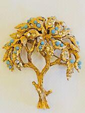 Hattie Carnegie Figural Tree of Life Faux Turquoise & Rhinestone Brooch Pin