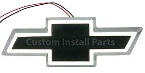 White LED BLACK Bowtie Front Grille Emblem Decal Badge Replaces GM Part 12335700