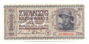 Ukraine German Occupation WWII Ukrainian Central Bank 20 Karbowanez 1942 UNC 7dg