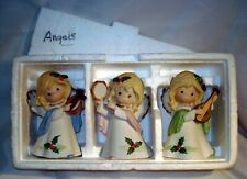 Vintage Homco Taiwan 5612 Set of 3 Matte Porcelain Christmas Angels in Styro Euc