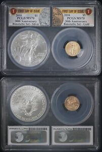 2016 30th Anniversary Bimetallic 2 Coin Set - PCGS MS70DCAM 1st Day of issue