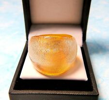 Yellow Hand Blown Glass with Cracked Paint Silver Fleck Bling Ring - Size 7.75