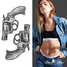 GUN TEMPORARY TATTOO, SET OF 2, REVOLVER, HENNA, MENS, WOMENS, KIDS, BLACK