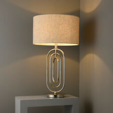 Endon Meera Table Lamp 60W E27 GLS Antique Silver Leaf & Natural Linen Shade