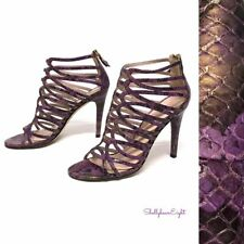 Stuart Weitzman Purple Gold Snake Loop De Loop Cage Zip Sandals Heels 6.5 $445