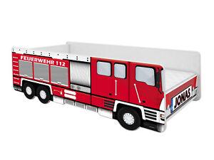 ACMA Kinderbett Auto-Bett Feuerwehr mit Rausfallschutz, Lattenrost und Matratze