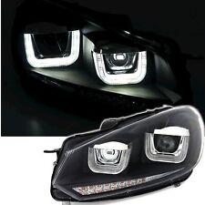 Scheinwerfer für VW Golf 6 LED Tagfahrlicht dynamische Lauflicht Blinker Schwarz
