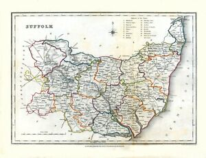 Old Historic County Map of Suffolk S.Lewis Vintage Repro Art Print Poster A3 A4