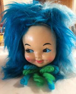 Vintage 70s Baby Doll Face Head Blue Hair Kleenex Tissue Box Cover Dispenser