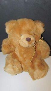 COMMONWEALTH toys vintage 1980 light brown teddy bear orange eyes Plush Stuffed
