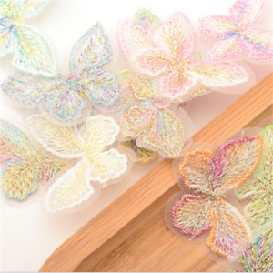 50X multicolor butterfly Embroidered Lace Applique decoration Clothing material
