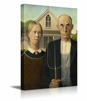 "American Gothic by Grant Wood Giclee Canvas Prints Wrapped Wall Art- 16"" x 24"""