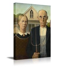 """American Gothic by Grant Wood Giclee Canvas Prints Wrapped Wall Art- 16"""" x 24"""""""