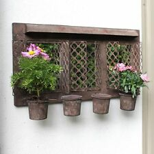 Rustic Metal Outdoor Wall Mirrored Garden Planter Shabby Vintage Plant Pot Home