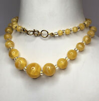 1930s Peking Glass Necklace Graded Beaded Spring Clasp Yellow Jewellery Jewelry