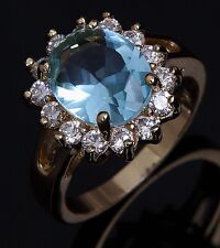 Size 6-10 Gold Filled Blue Aquamarine Wedding Jewelry Woman Ring Gift Halo