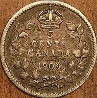 1909 CANADA SILVER 5 CENTS COIN - Cross / Bow Tie - Very rare coin!