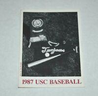 College Baseball Pocket Schedule 1987 USC Trojans Coca Cola Southern California