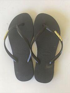 Havaianas Slim Basic Black Thongs Size 35-36 - Hardly Worn