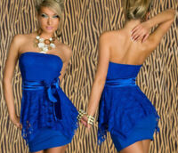 Sz S 8 10 Blue Lace Strapless Bodycon Dance Party Club Cocktail Sexy Mini Dress