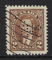 Perfin I4-IHC (London, ON): Scott 232, 2c King George VI Mufti, Position 1