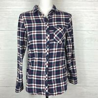 Be Cool Flannel Button Front Shirt Size Small Long Sleeve Plaid Navy Red White