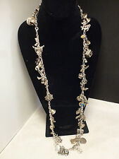 Vintage  Silver 75 Charm Necklace Travel Themes Charm Necklace 274.5 g