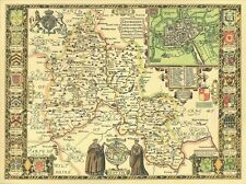 Oxfordshire OXFORD Replica John Speed Old  Map 1610 ALLHand Coloured UNIQUE GIFT