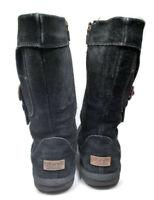 UGG Australia Sheepskin Tall Boot  Side Zip High Suede Size US 2 EU 32