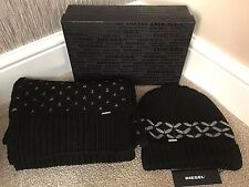 DIESEL BEANIE HAT & SCARF SET WITH LOGO BOX MADE IN ITALY RETAIL €130