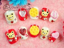 70% Off! Red/White Bear Biscuit Heart Crystal Nail Tip 24p Universal