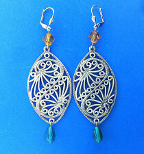 Vintage Filigree Dangle Earrings Glass Beads Bonnie Jonas 3.5