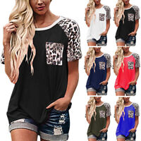 ❤Women Leopard Print Short Sleeve Loose T Shirt Ladies Summer Casual Blouse Tops