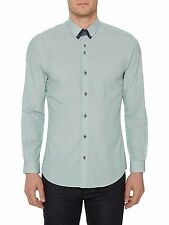 REMUS Uomo Tapered Fit Hairline Casual Shirt/green - Medium SRP