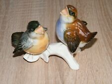 Ens Porzellan Figur Gruppe / Meisenküken auf Ast / Vögel / Mühlenmarke