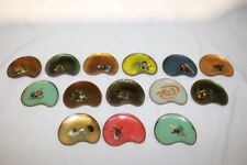 """Set of 14 Enameled Copper Mulicolored Kidney Shaped 3.5"""" Individual Butter Pats"""