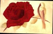 BEST WISHES-SILK RED ROSE & AIR BRUSHED BIRD AND LEAVES POSTCARD