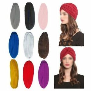 Fashion Stretchy Turban Head Wrap Band Sleep Hat Chemo Bandana Pleate Indian Cap