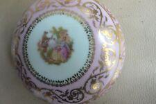 Limoges porcelaine vintage large trinket box pink w courting couple on lid