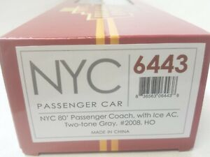 New York Central Railroad 80' Passenger Coach Car #2008  Broadway Limited 6443