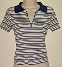 Junior's Anxiety Top Striped Short Sleeves Collar Polo Zipper Top Size S