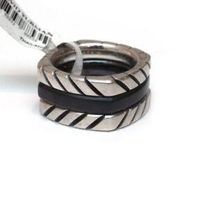 NWT Mens DAVID YURMAN Chevron 3 Stack Ring in Black Titanium & Silver Size 9
