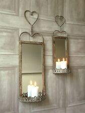 Set 2 Vintage Style Wall Mirrors French Wall Sconce Shabby Chic Candle Holders