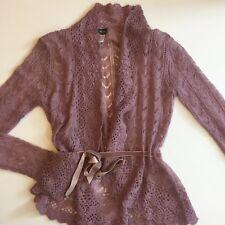 Women's LA REDOUTE CREATION Sz 6/8 US Purple Metallic Open Knit Ribbon Sweater