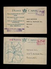 """Two unused Lewiston Hill Highway Postcards #361 and #369 w/ """"1c Paid Permit #3"""""""