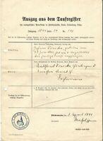 E 3- 1941 Taufbescheinigung ev. Kirche Fürstenwalde / Ostpr. ( Kreis Ortelsburg