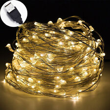33ft 100 LED String Lights USB Powered for Bedroom Patio Garden Gate Yard Party