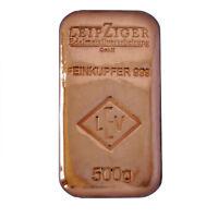 500 (g) Gramm LEV Kupferbarren 999 Feinkupfer gegossen, original verschweißt