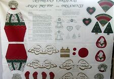 COUNTRY VICTORIANA CHRISTMAS TREE TOP & ORNAMENTS FABRIC CRAFT SEWING  PANEL